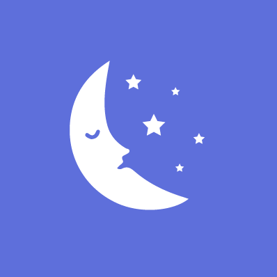 Sleep well, sleep quality. Image of a moon and stars.